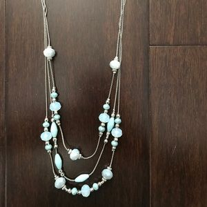 Baby blue and silver beaded necklace